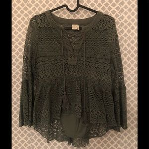 Paper Crane sage moss green lace top